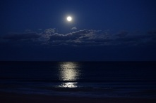 The beautiful moon rising over the Atlantic Ocean.
